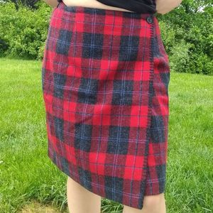 Talbots Petites red plaid wool blend true wrap